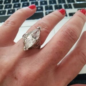 Vintage Jewelry - Vintage CZ Art Deco Style Sterling Ring
